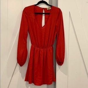 Show me your mumu red long sleeve mini dress